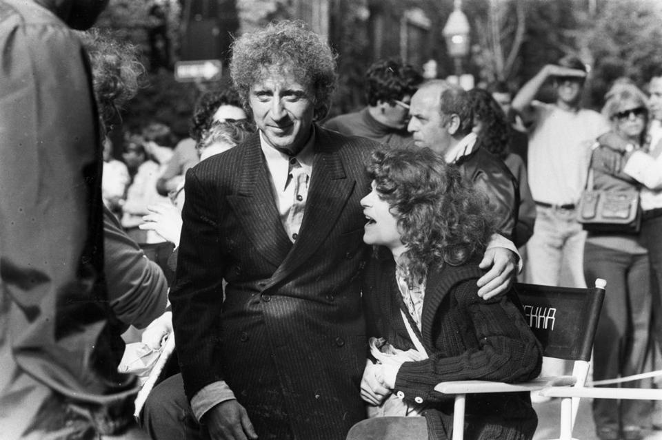 "Gene Wilder and Gilda Radner on the set of the movie ""Traces,"" which was filmed on Beacon Hill."