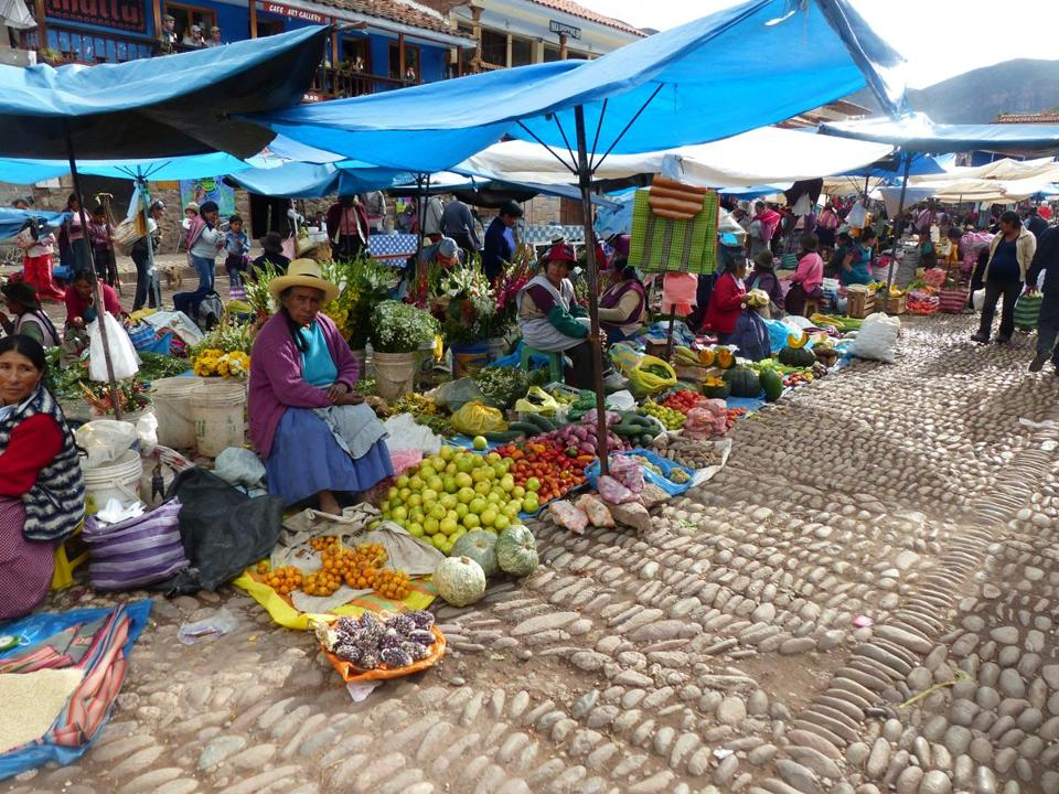 Produce sold at the Pisac Market shows why Peru is a vegetarian's paradise.