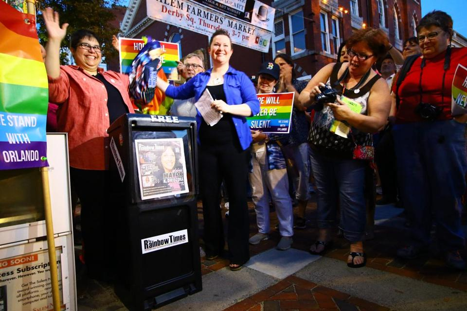 Rainbow Times publisher Gricel Ocasio and the newspaper's editor, Nicole LaShomb, unveiled a new newspaper box in Salem on Sunday evening.