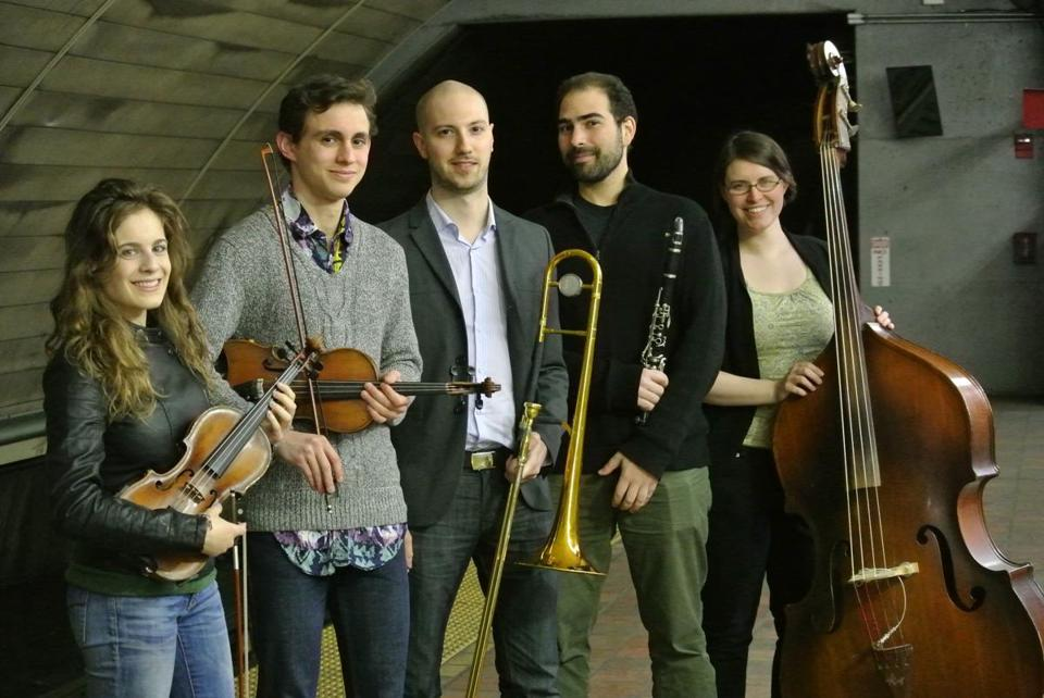 Ezekiel's Wheels (from left: Abigale Reisman, Jonathan Cannon, Pete Fanelli, Nat Seelen, and Kirsten Lamb) will perform at the Bread & Roses Heritage Festival.