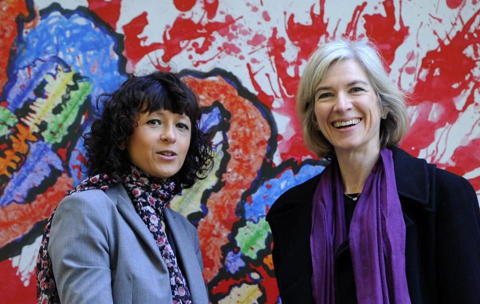 French researcher in microbiology, genetics, and biochemistry Emmanuelle Charpentier, left, and US professor of chemistry and of molecular and cell bBiology Jennifer Doudna pose in Spain in 2015.