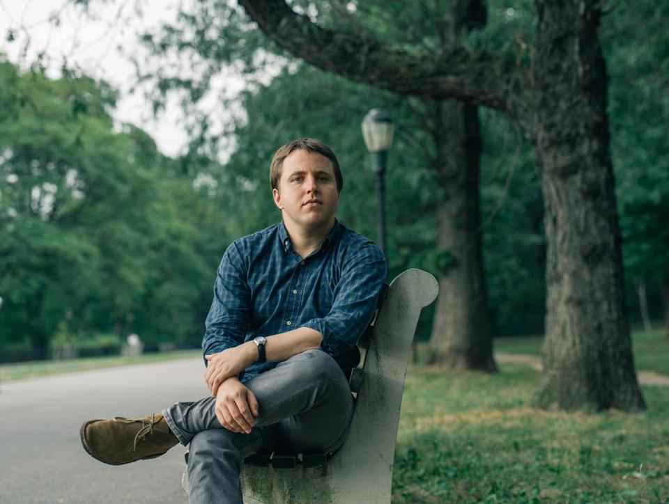 Playwright Joshua Harmon in Central Park in New York City.