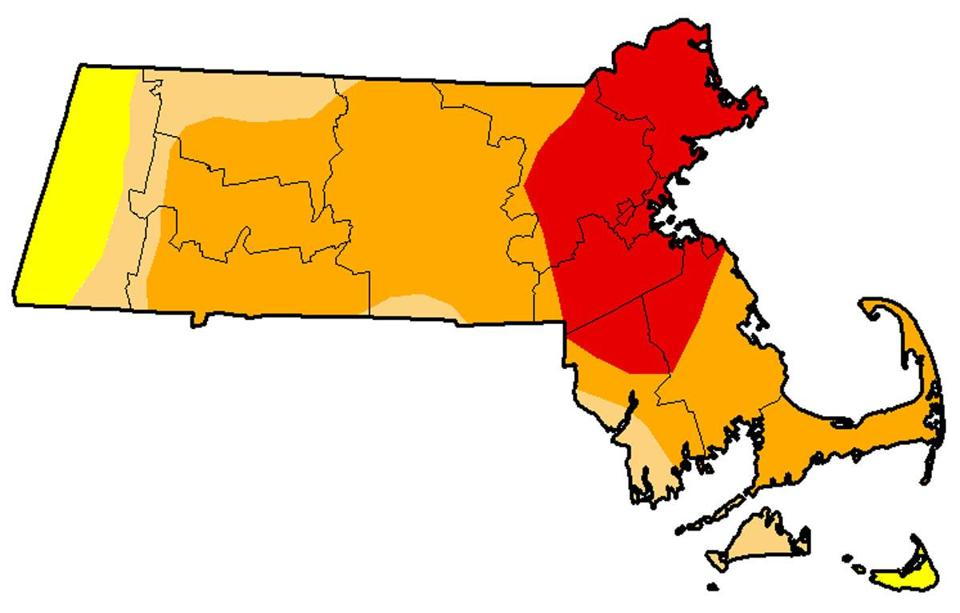 The area showed in red is suffering from an extreme drought.