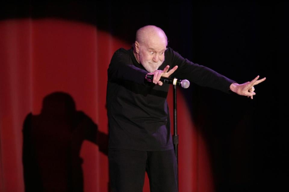 "George Carlin performs at the Orleans hotel casino in Las Vegas Saturday, June 7, 2008. Carlin, 71, whose staunch defense of free speech in his most famous routine ""Seven Words You Can Never Say On Television"" led to a key Supreme Court ruling on obscenity, died Sunday June 22, 2008. He went into St. John's Health Center in Santa Monica on Sunday complaining of chest pain and died later that evening, said his publicist, Jeff Abraham. (AP Photo/Las Vegas Sun, Sam Morris) ** REVIEW JOURNAL OUT, MAGS OUT, TV OUT, NO SALES, ARCHIVE OUT. ** Library Tag 07022008 Sidekick"