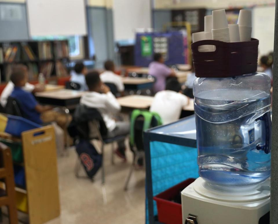 Among the renovations at Fenway High School in Boston, the water pipes have been replaced. School officials said that tests of tap water there have since shown acceptable lead levels.