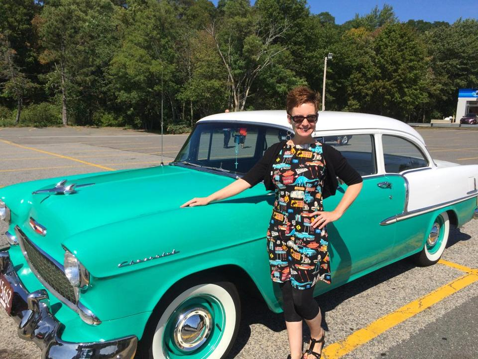 Beth Lennon, a.k.a. Mod Betty of Retro Roadmap, with a 1955 Chevy Bel Air.