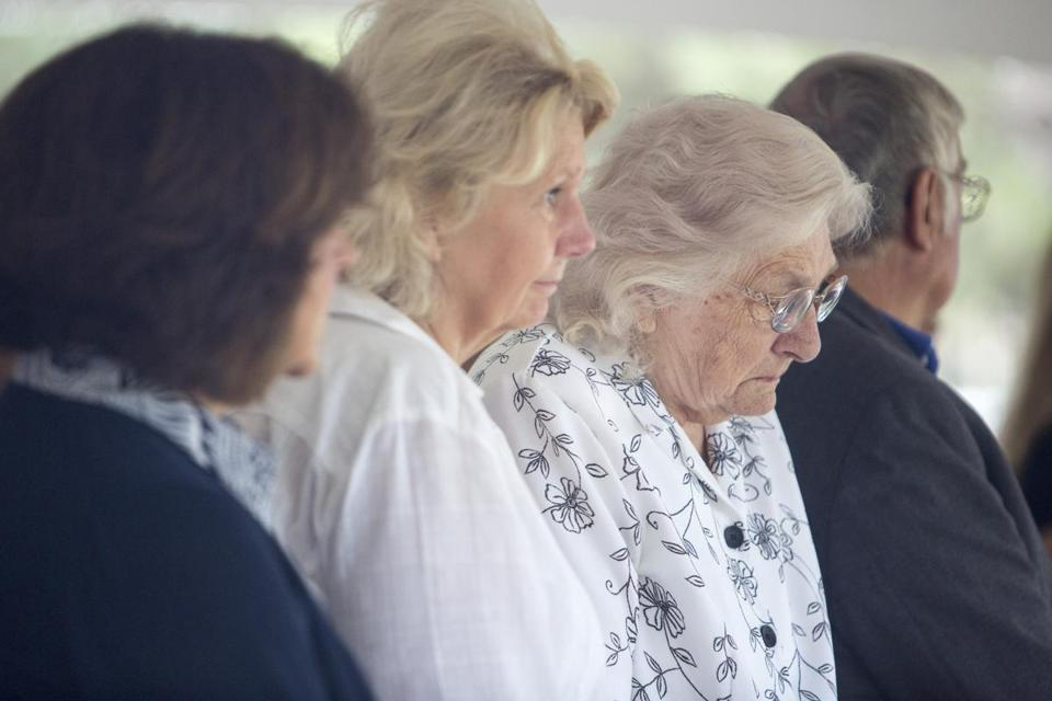 10victims - September 9, 2016 | Lowell, MA John Ogonowski '72 of Dracut, who was the pilot of AA Flight 11's mother, Theresa Ogonowski (right). She was sitting in front row) at the UMass Lowell ceremony honoring the seven members of the university community who were among the victims of the terrorist attacks on Sept. 11, 2001 with a ceremony marking the 15th anniversary of the tragedy, on the banks of the Merrimack River. (Kieran Kesner for The Boston Globe)