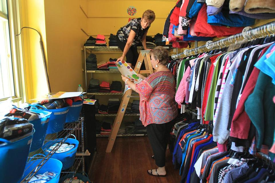 Denise Trombly And Her Sister Mickey Cockrell Set Up Catieu0027s Closet At The  Mathers School.
