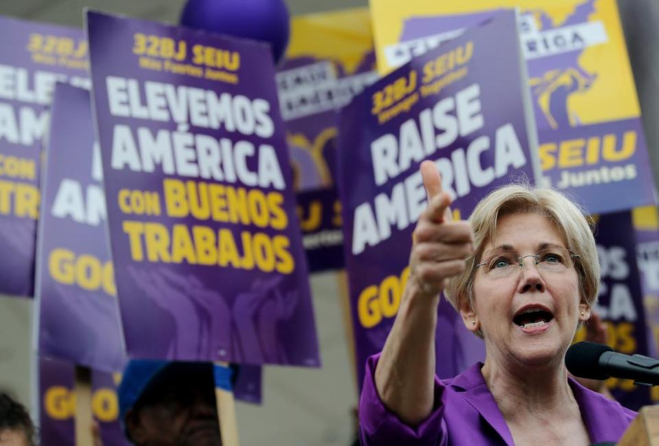 Senator Elizabeth Warren addressed the crowd during a Raise America Rally at the Boston Common Saturday.