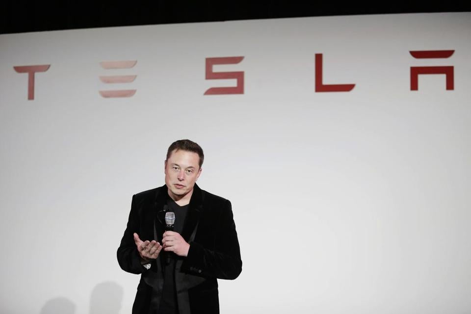 Tesla CEO Elon Musk owns about 20 percent of the electric car company.