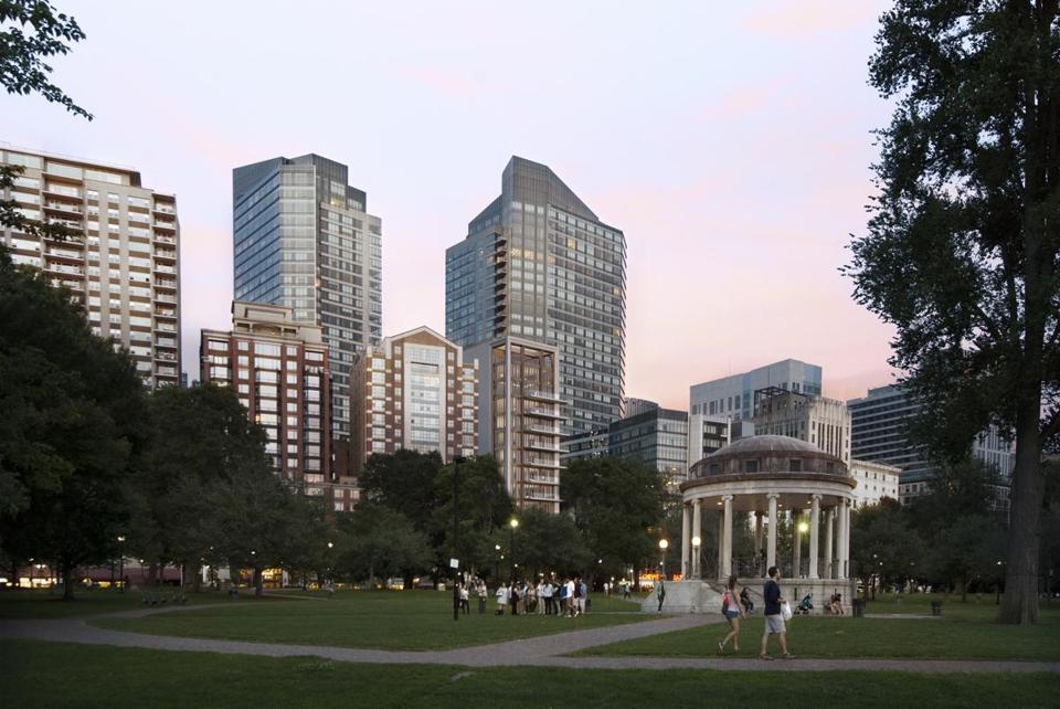 "13penciltower - The developers of a ""pencil"" tower proposed near Boston Common have again trimmed the height of their building, now to 155 feet, over concerns about shadows casting on the public park. (Elkus Manfredi Architects, GRADE)"