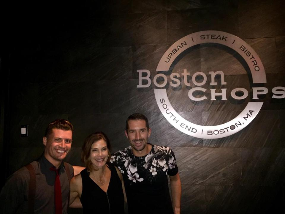 Teri Hatcher flanked by John Gould (left) and Brian Piccini at Boston Chops.