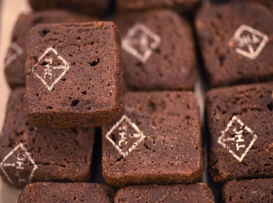 Zoots brownies with a printed THC stamp at the Zoots marijuana edibles production facility in Denver.
