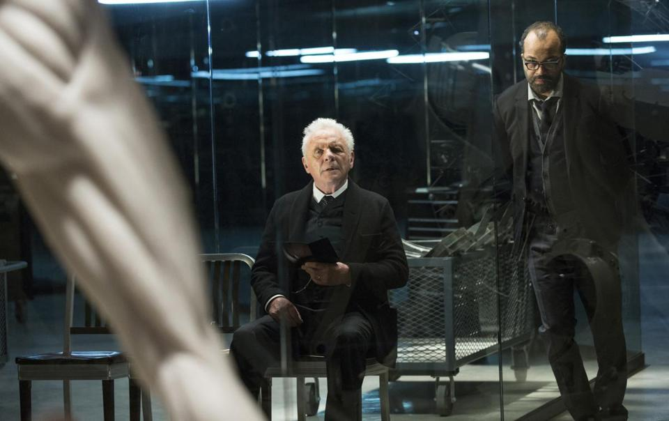 "Anthony Hopkins and Jeffrey Wright in ""Westworld."""