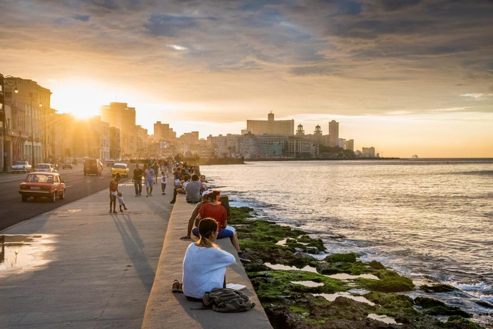 Scene along the Malecon in Havana, Cuba.