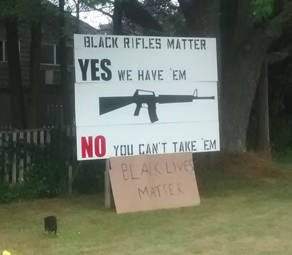 A Pro Gun Sign In Maine That Plays On The Motto Of Black Lives