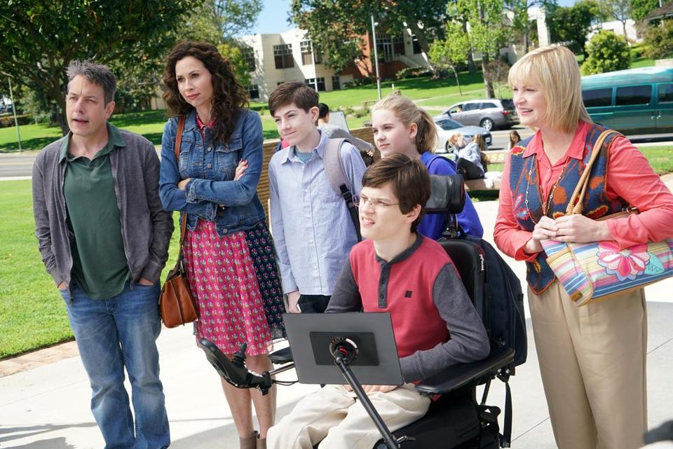 "SPEECHLESS- ""Pilot"" - Maya DiMeo moves her family to a new, upscale school district when she finds the perfect situation for her eldest son, JJ, who has cerebral palsy. While JJ and daughter Dylan are thrilled with the move, middle son Ray is frustrated by the family's tendencies to constantly move, since he feels his needs are second to JJ Soon, Maya realizes it is not the right situation for JJ and attempts to uproot the family again. But JJ connects with Kenneth, the school's groundskeeper, and asks him to step in as a his caregiver, and Ray manages to convince Maya to give the school another chance, on the series premiere ""Speechless"" WEDNESDAY, SEPTEMBER 21 (8:30-9:00 p.m. EDT), on the ABC Television Network. (ABC/Adam Taylor) JOHN ROSS BOWIE, MINNIE DRIVER, MASON COOK, KYLA KENEDY, MICAH FOWLER, DINA SPYBEY-WATERS -- 16FallTV"