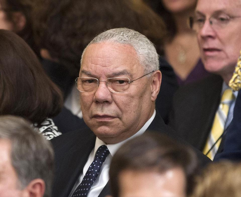FILE - In this May 31, 2012 file photo, former Secretary of State Colin Powell is seen in the East Room of the White House in Washington. A Romanian hacker who targeted the Bush family, Powell and others is expected to get a prison sentence of at least two years. Forty-four-year-old Marcel Lazar, better known as Guccifer, is scheduled for a sentencing hearing Thursday, Sept. 1, 2016, in federal court in Alexandria, Va. (AP Photo/Pablo Martinez Monsivais, File)