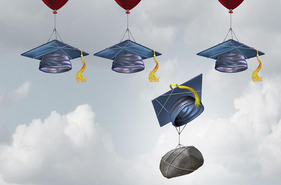 Education challenge burden and school debt concept as a group of mortarboards or graduate cap being lifted higher with one sinking weighted down by a rock with 3D illustration elements.; Shutterstock ID 418328926; PO: 0918_ramos; Client: Ideas