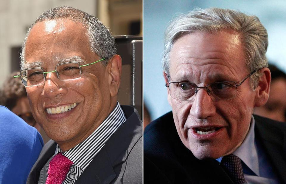 Dean Baquet, executive editor of The New York Times (left), and Bob Woodward, associate editor of The Washington Post.