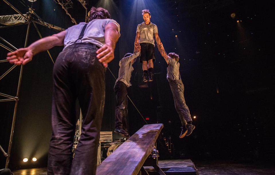The Machine de Cirque troupe features four circus artists and a percussionist.