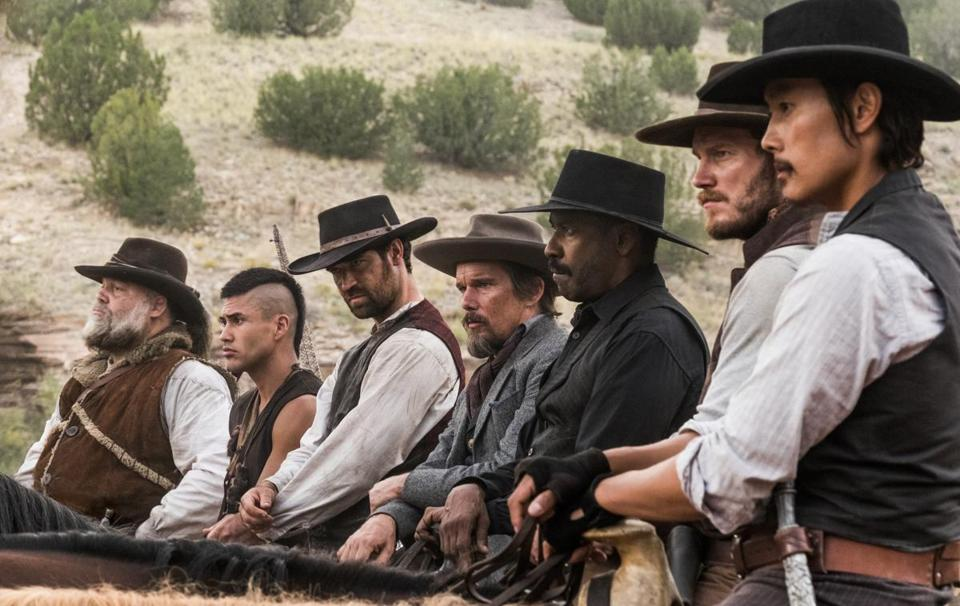 "From left: Vincent D'Onofrio, Martin Sensmeier, Manuel Garcia-Rulfo, Ethan Hawke, Denzel Washington, Chris Pratt, and Byung Hun Lee in ""The Magnificent Seven."""
