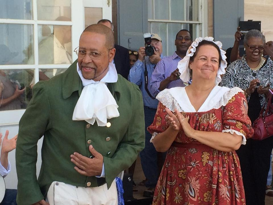 Craig Syphax and Donna Kunkel portrayed their ancestors at a June reenactment of the 1821 wedding of slaves Charles Syphax and Maria Carter at Arlington House.