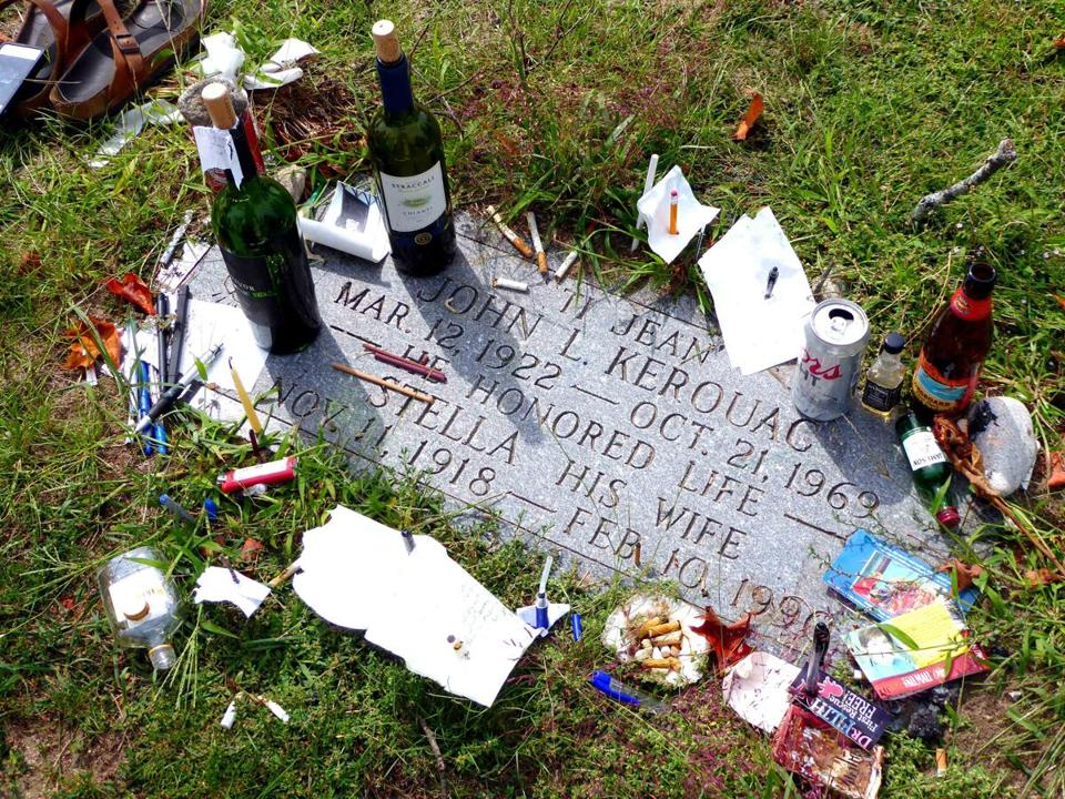 Fans leave tokens at Jack Kerouac's gravesite in Lowell's Edson Cemetery.