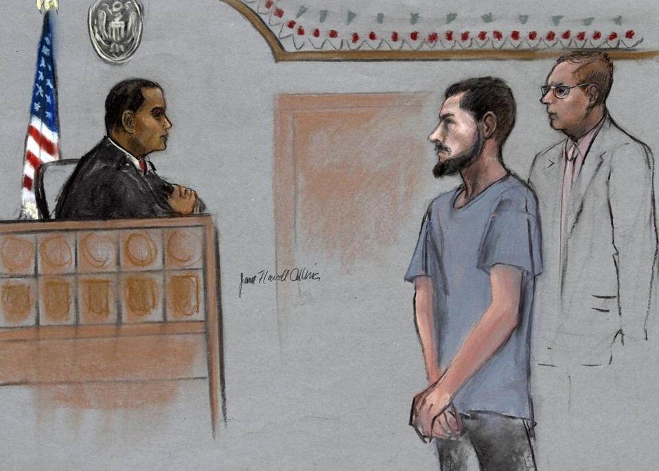 Nicholas Rovinski stood for a hearing in 2015 in this courtroom sketch.