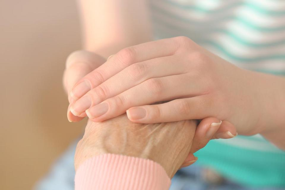 Helping hands, care for the elderly concept; Shutterstock ID 241609876; PO: oped