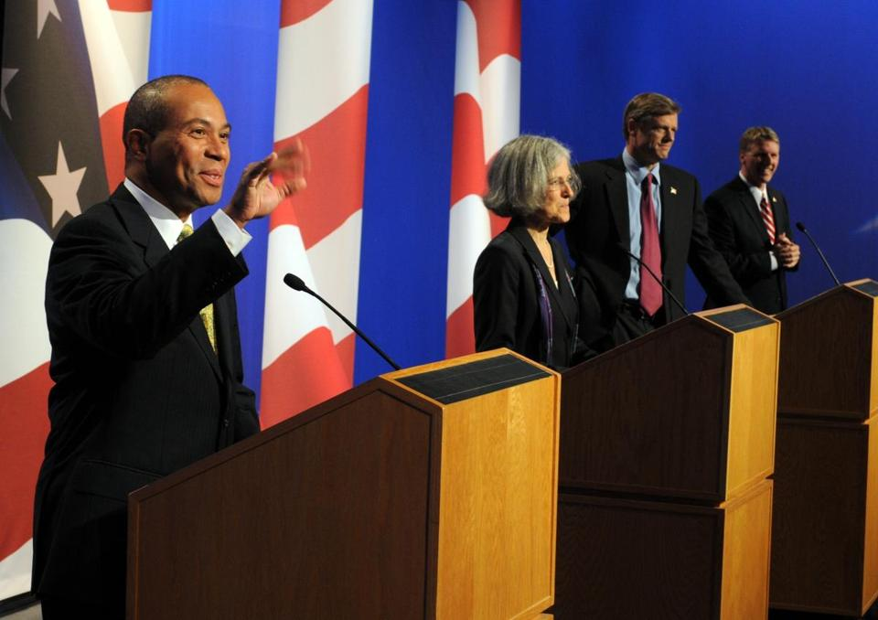 Stein debating during the 2010 gubernatorial campaign, won by Deval Patrick (left).