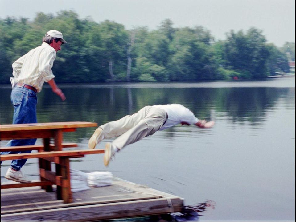 During his 1996 US Senate run against John Kerry, Weld took an impromptu swim in the Charles River.