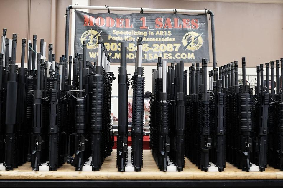 FORT WORTH, TX - JULY 10: Gun parts sit for sale at a gun show where thousands of different weapons are displayed for sale on July 10, 2016 in Fort Worth, Texas. The Dallas and Forth Worth areas are still mourning the deaths of five police officers last Thursday evening by a lone gunman. (Photo by Spencer Platt/Getty Images)