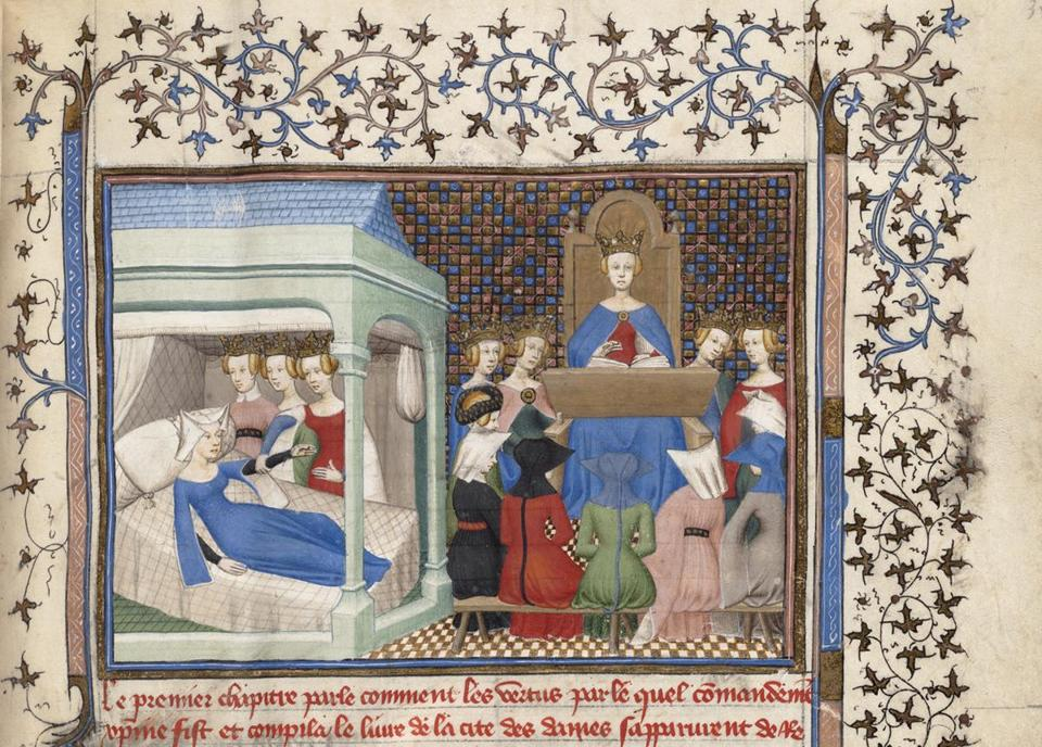 "Detail of Christine de Pizan's ""Awakened by Reason, Rectitude, and Justice."""