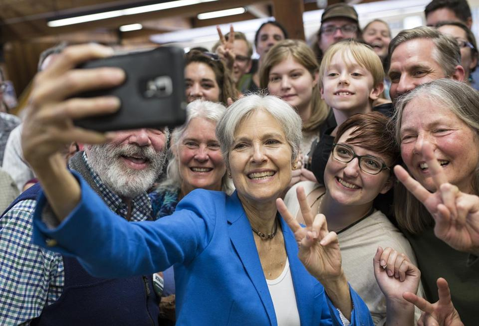(MUST CREDIT:John Happel/Valley News): Green Party candidate, Jill Stein, takes a selfie with supporters at her campaign event at Vermont Law School in Royalton, Vt. on Tuesday, September, 13, 2016. Stein is running on a third party platform in the November presidential election. (Valley News - John Happel) Copyright Valley News. May not be reprinted or used online without permission.
