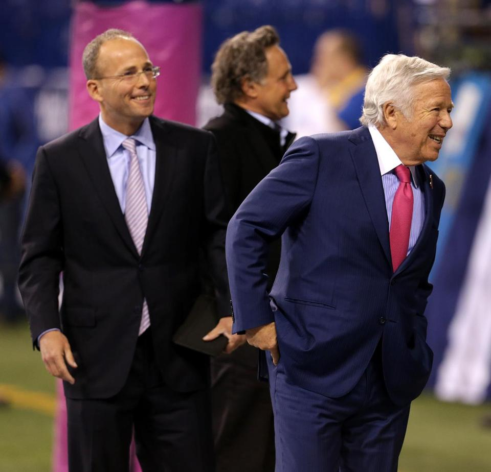 New England Patriots President Jonathan Kraft (left) with his father Robert Kraft.