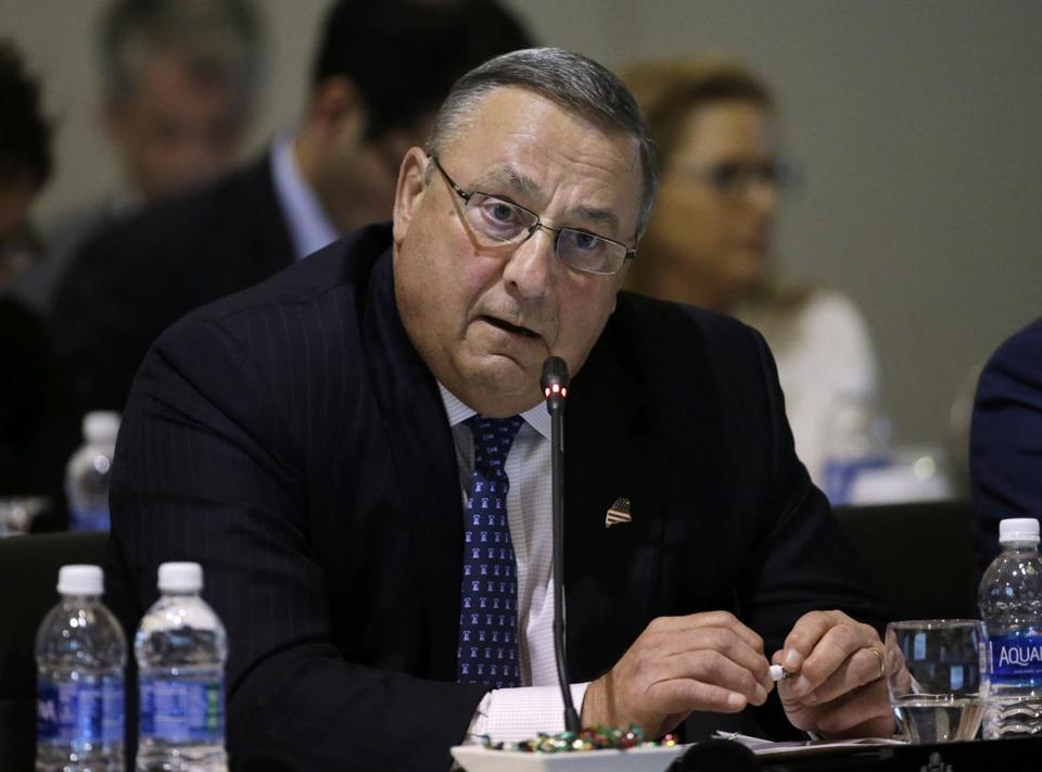 FILE - In this Aug. 29, 2016 file photo, Maine Gov. Paul LePage speaks during a conference of New England's governors and eastern Canada's premiers to discuss closer regional collaboration, in Boston. Maine's Democratic Secretary of State Matt Dunlap says LePage's recent behavior has caused outrage but that doesn't mean he can't keep performing as governor. Critics want to punish LePage for an obscenity-laden voicemail and threats directed at a legislator. (AP Photo/Elise Amendola, File)