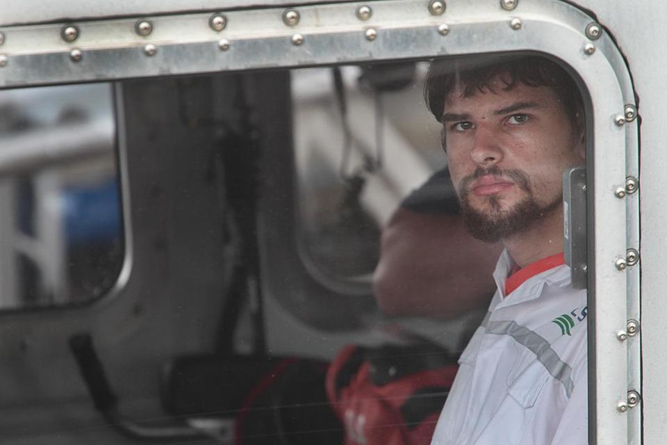 Nathan Carman was seen after he was brought to a USCG Base in Boston.