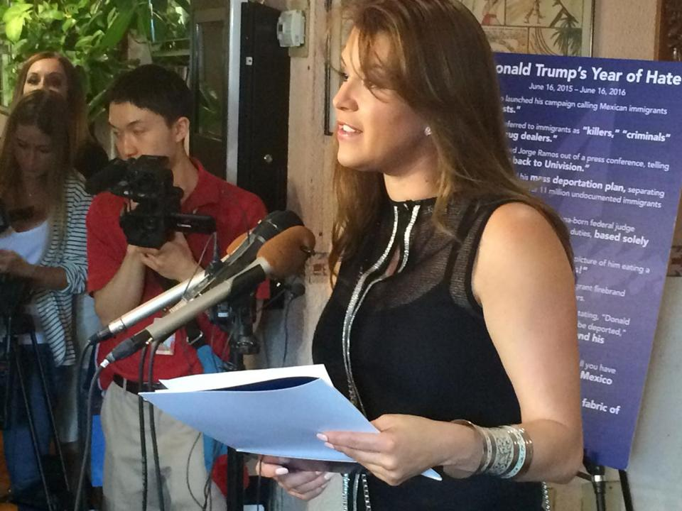 FILE - In this June 15, 2016, file photo, former Miss Universe Alicia Machado speaks during a news conference at a Latino restaurant in Arlington, Va., to criticize Republican presidential candidate Donald Trump. Machado became a topic of conversation during the first presidential debate between Trump and Democratic candidate Hillary Clinton on Sept. 27, 2016. (AP Photo/Luis Alonso Lugo, File)