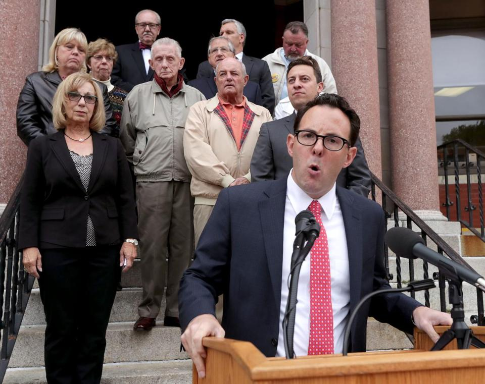 Revere Mayor Brian M. Arrigo spoke at a news conference announcing opposition to Question 1 on the November ballot.