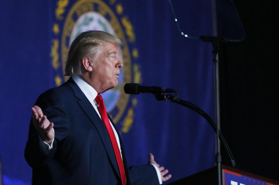 Donald Trump gestured as he spoke during a campaign event in Bedford, N.H.