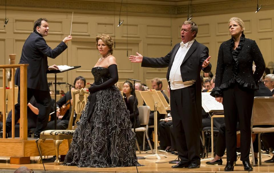 "From left: Andris Nelsons, Renée Fleming, Franz Hawlata, and Susan Graham during Thursday's performance of ""Rosenkavalier"" at Symphony Hall."