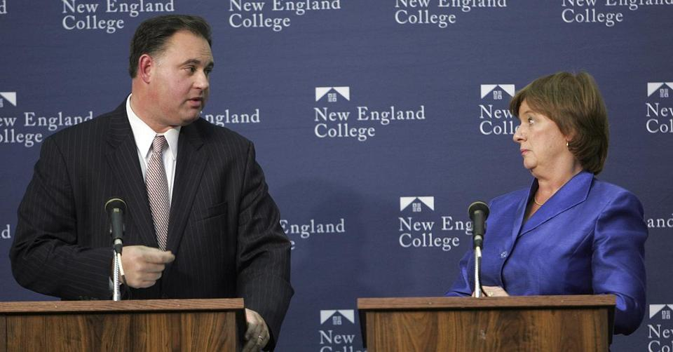 Republican Frank Guinta (left) and Democrat Carol Shea-Porter sparred during a debate in 2010.