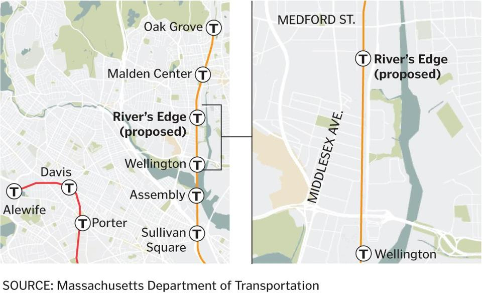 River's Edge station would be located between the Wellington and Malden Center stops.