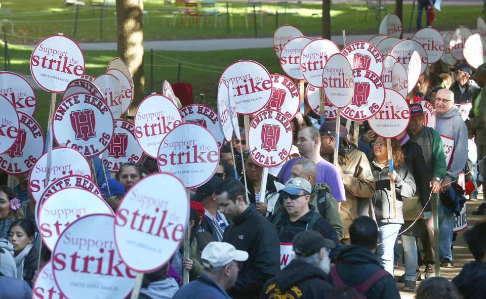 Harvard University dining hall workers rallied Oct. 5 after going on strike.