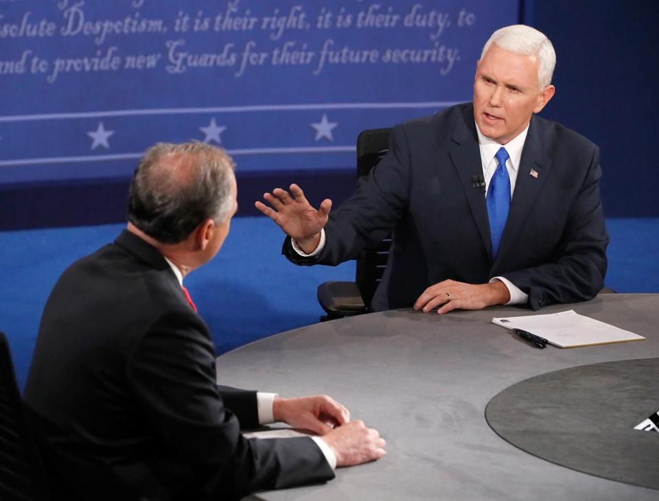 Tim Kaine and Mike Pence debate Tuesday in Farmville, Va.