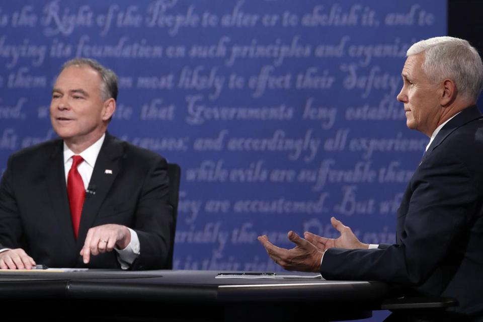 Mike Pence (right) came out on top in Tuesday's debate, says Scot Lehigh.