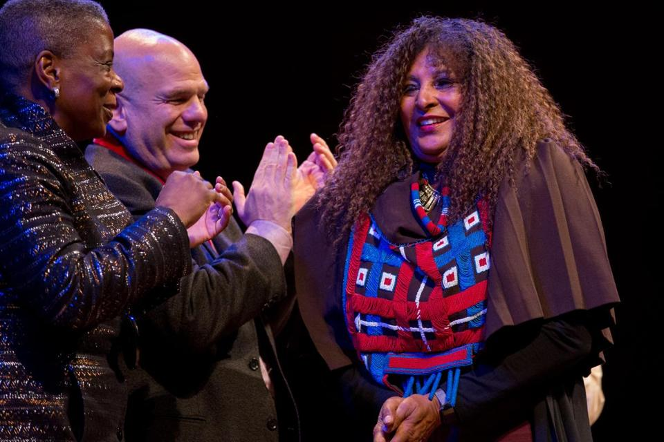 Oct. 6, 2016 - Actress Pam Grier at the WEB DuBois medal ceremony in Cambridge, Mass. Photo Credit: Justin Saglio for the Boston Globe. Section: Arts. Slug: 07namesGrierNorman.