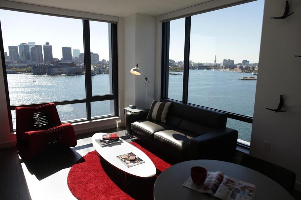 The Eddy, a luxury apartment building on New Street in East Boston, has spectacular views of Boston.