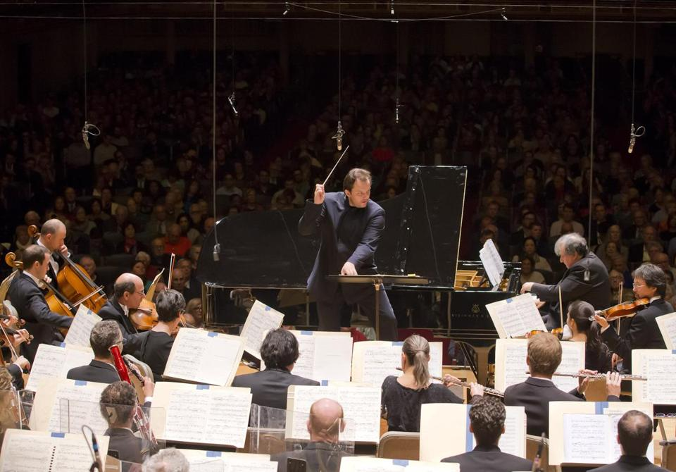 Andris Nelsons leading the BSO at Symphony Hall on Thursday.